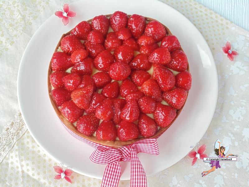 tarte fraises vue dessus
