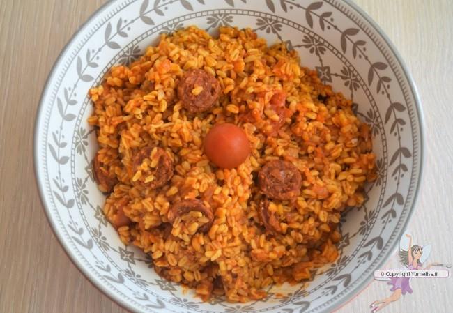 blé au chorizo et tomate au Cookéo