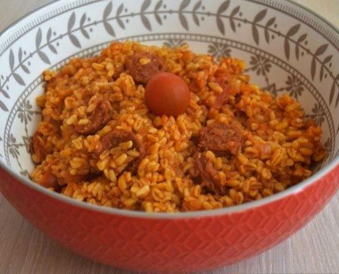 blé chorizo et tomate au Cookéo