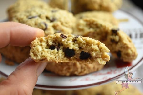 intrieur du biscuit avoine et pépites de chocolat