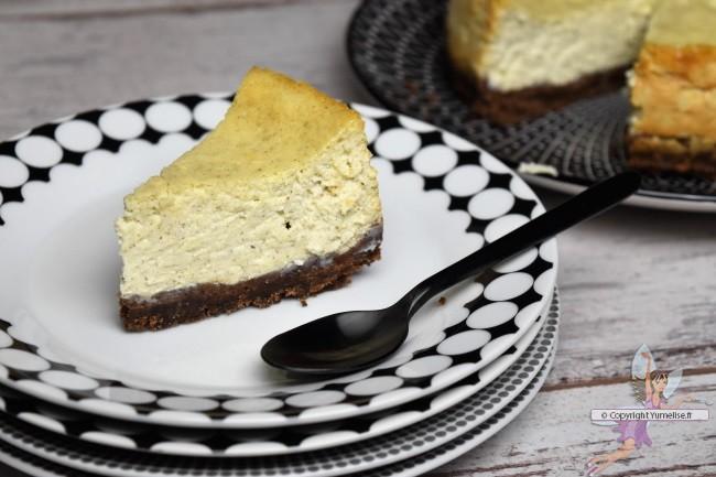 part de cheesecake chocolat et vanille