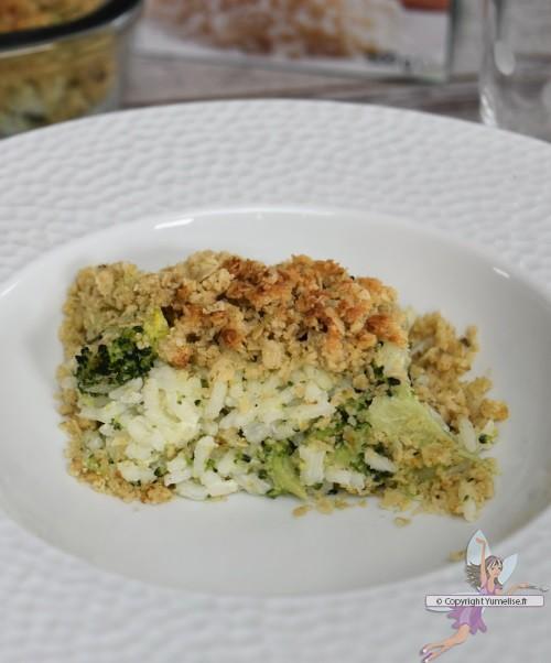 crumble riz et brocoli à l'assiette