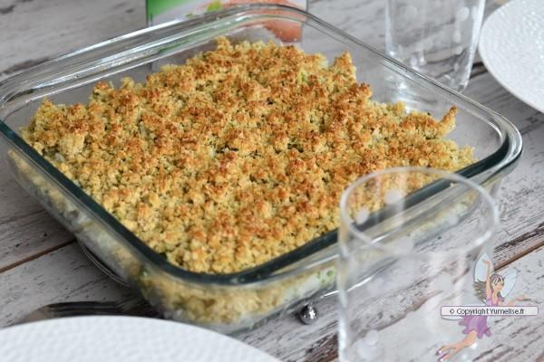 crumble salé au riz et brocoli cuit