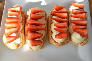 éclairs avec les fraises