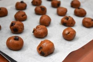 cookies à la pâte de spéculoos avant cuisson