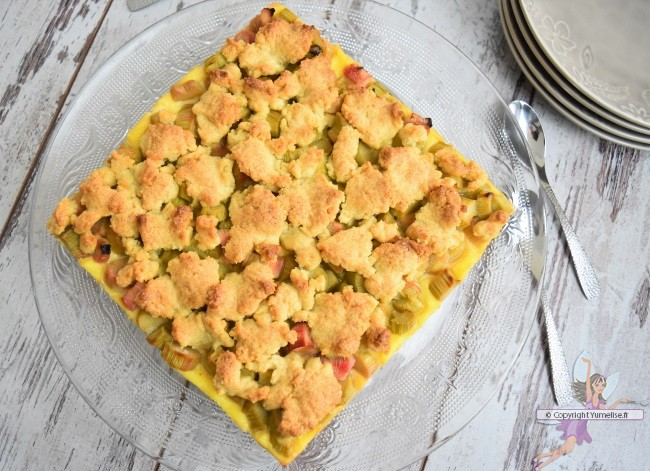 tarte à la rhubarbe et son crumble