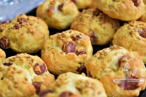 cookies au saucisson sec et graines de sésame