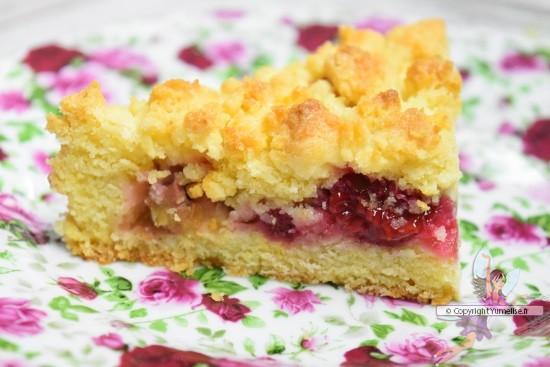 part de gâteau crumble rhubarbe et framboise