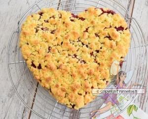 gâteau crumble rhubarbe framboise sur volette