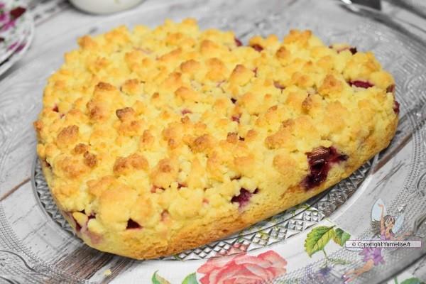 gâteau crumble rhubarbe framboise