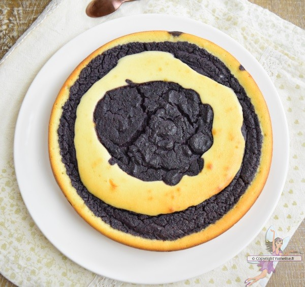 la gâteau marbré et myrtilles