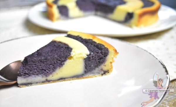 part du gâteau marbré aux myrtilles