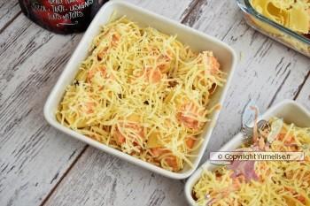 pâtes farcies au poulet, chorizo et gratinées au fromage