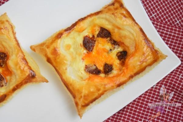 feuilletés dessinés garnis de chorizo et fromage