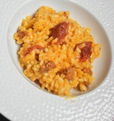 risotto au chorizo et tomates