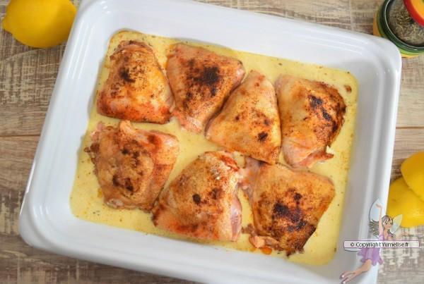 poulet à la crème et citron avant cuisson au four