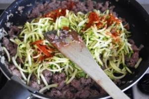 cuisson préparation viande courgette pour lasagnes