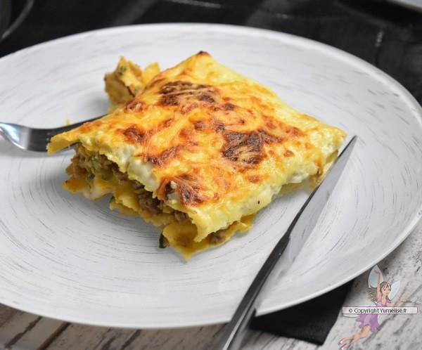 part de lasagnes courgette et fromage frais