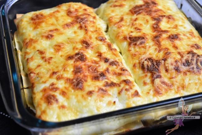 lasagnes à la courgette et fromage frais cuites