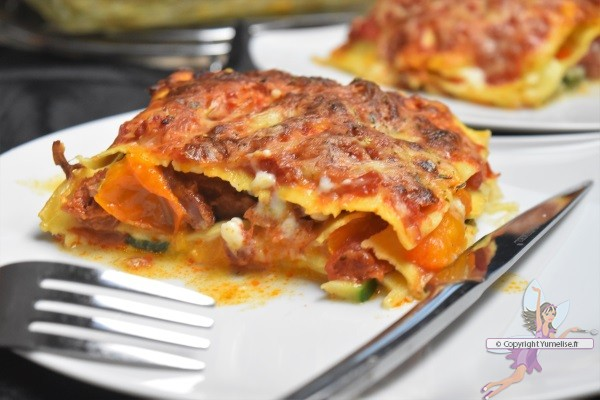 part de lasagnes tomate, courgette et chorizo