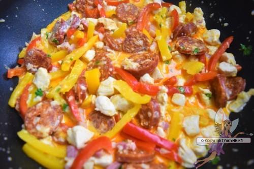 la piccata aux poivrons, poulet, chorizo