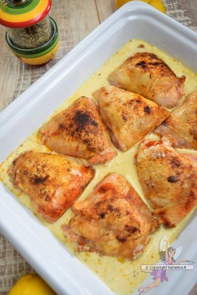 poulet à la crème et au citron avant cuisson