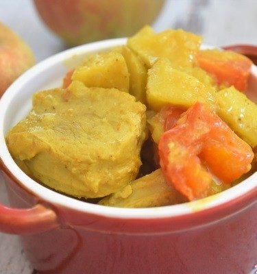 filet mignon curry, pommes, tomates