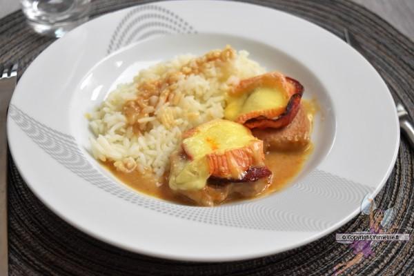 filet mignon de porc au Maroilles et chorizo avec du riz