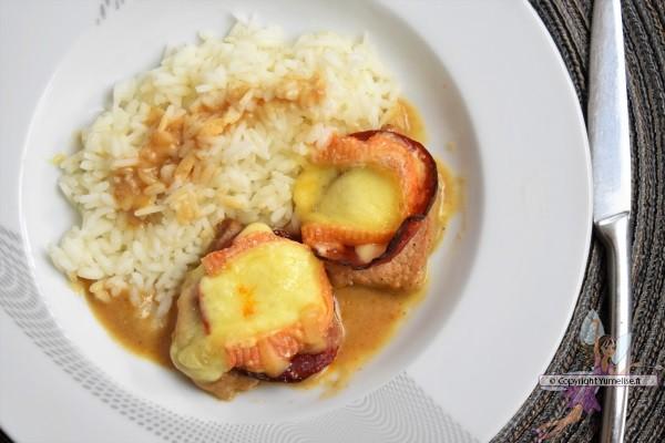tranches de file tmmignon de porc au Maroilles et chorizo