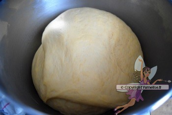 pâte gonflée après 2 heures de pousse
