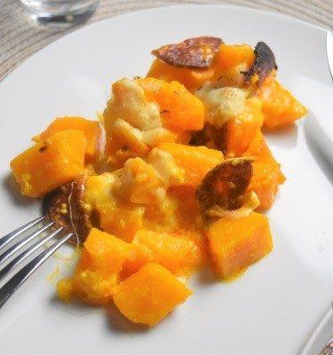 potiron, chorizo, mozzarella