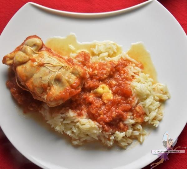 paupiette de dinde au Maroilles, sauce tomate et riz