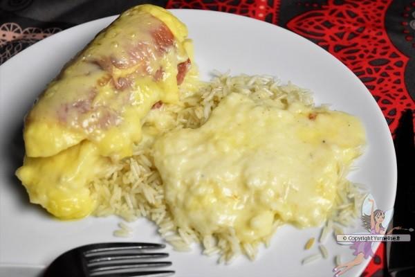 quenelles jambon Gouda et riz pilaf