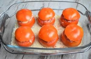 tomates farcies à la raclette avant cuisson