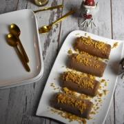 bûches au chocolat craramel et émietté de sablés