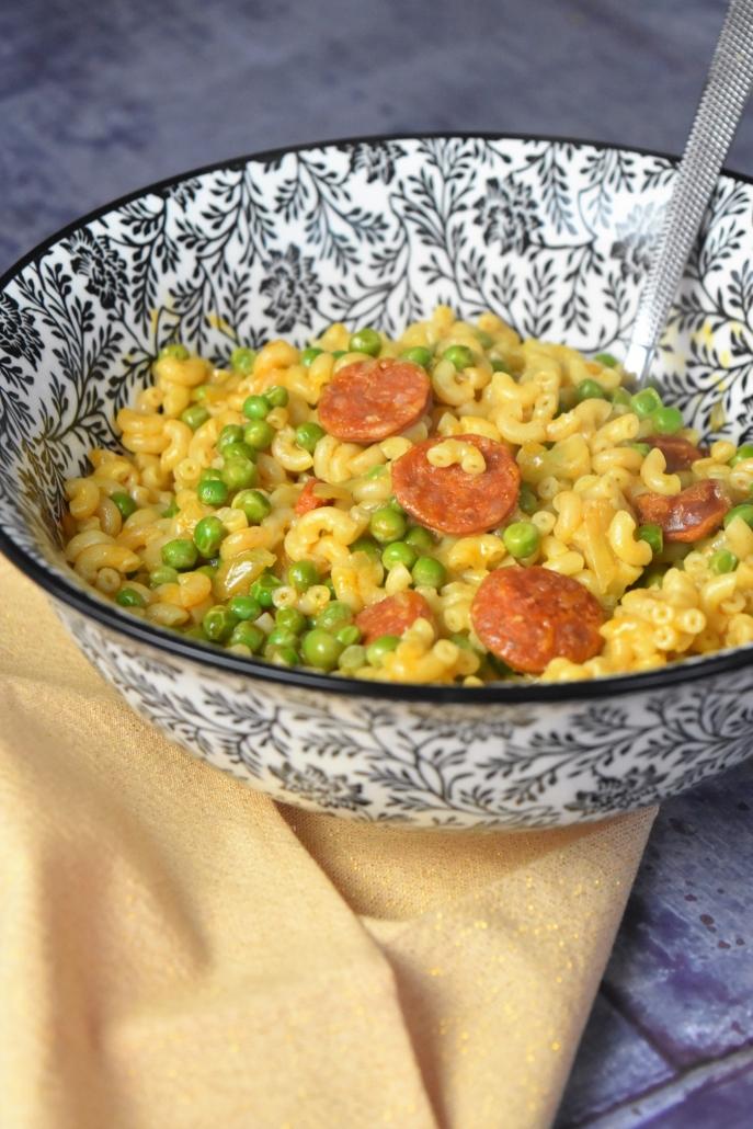 Coquillettes au chorizo et petits pois plat complet facile - Cuisiner les petits pois ...