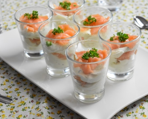 verrines au saumon