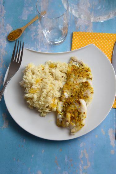 assiette de cabillaud et riz