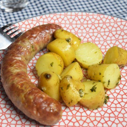 pommes de terre ratte persillées et saucisses fraîches à l'Omnicuiseur