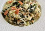 assiette de risotto saumon et épinards