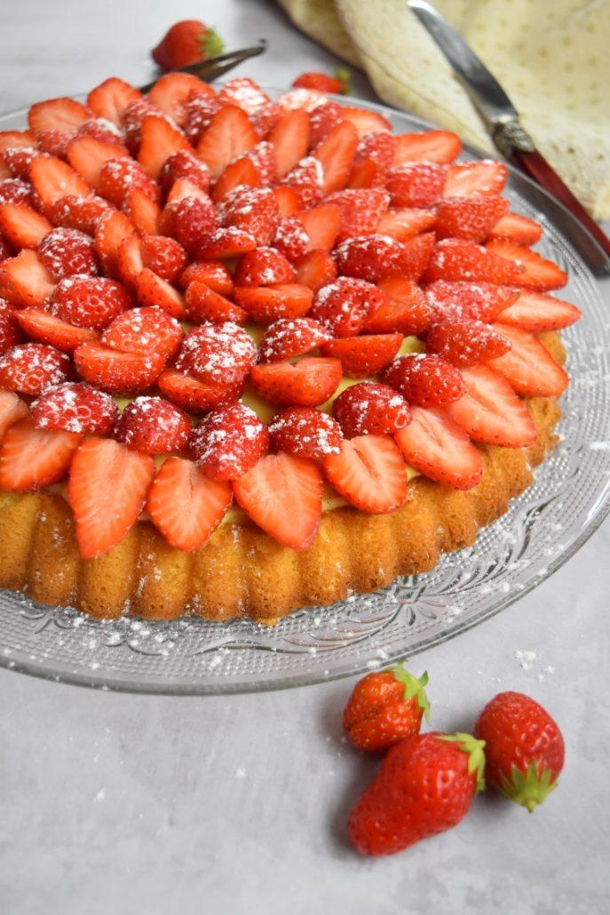 Tarte aux fraises avec génoise