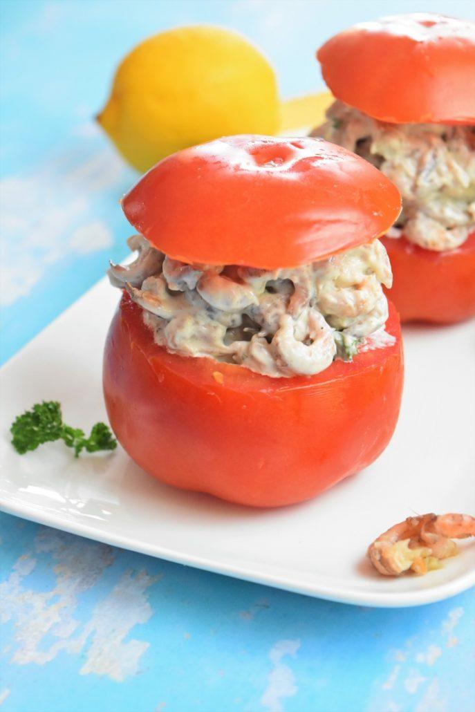 Tomates farcies aux crevettes grises