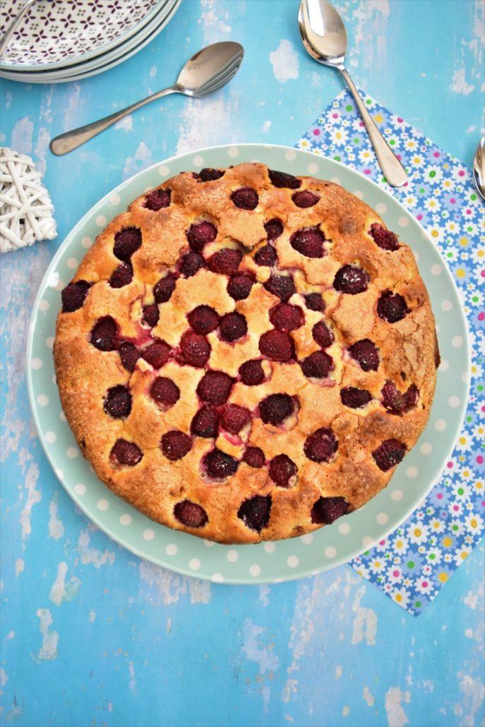 Gâteau aux framboises et crème mascarpone