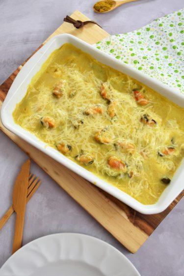 asperges vertes au curry et moules