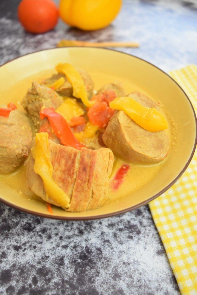 Curry au filet mignon, poivrons
