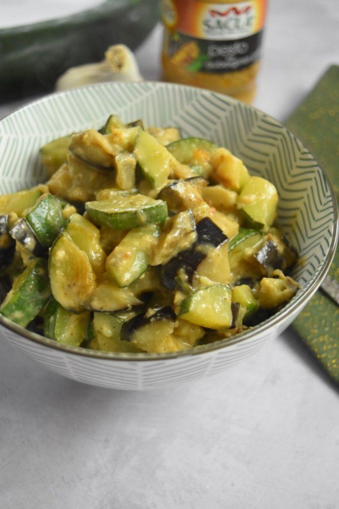 Courgette et aubergine au pesto d'aubergines