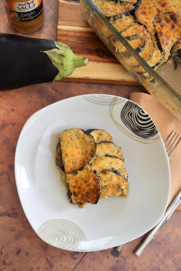 Aubergines et courgette au pesto