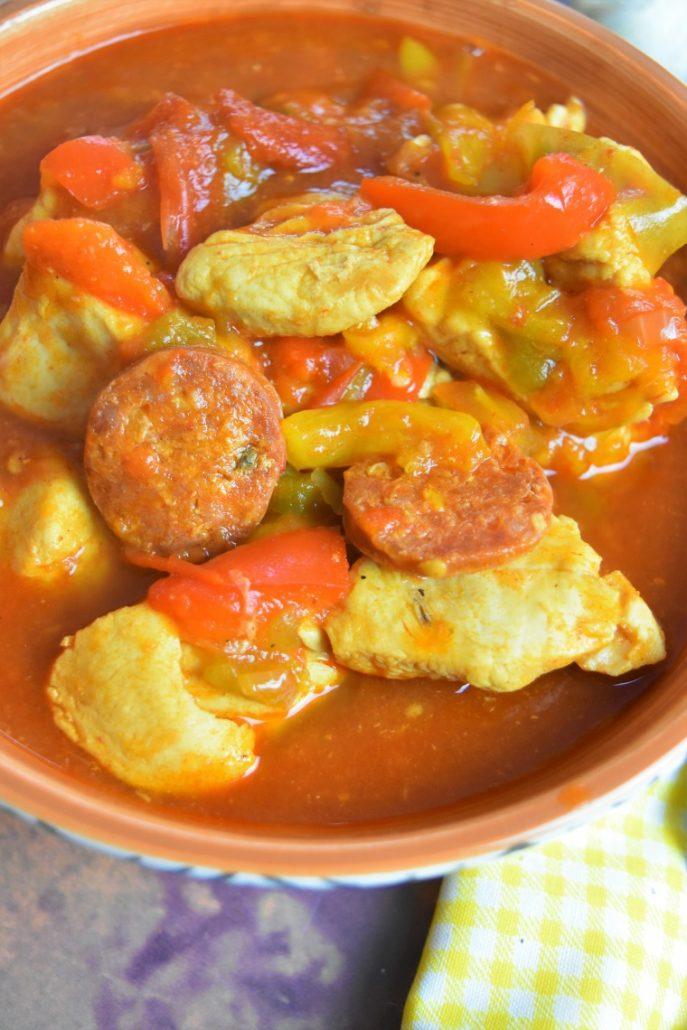 Poulet aux poivrons et chorizo