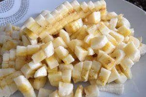 Bananes coupées en dés