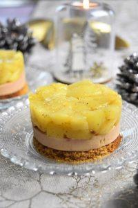 Tatin au foie gras et pommes flambées au cognac